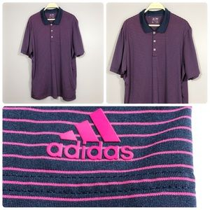 Adidas Purple Stripe Button Casual Polo Golf Shirt